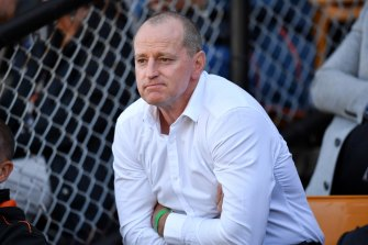 Michael Maguire during the round five loss to the Cowboys at Leichhardt Oval.