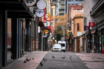 A near empty Melbourne laneway as the city goes through its fourth lockdown.