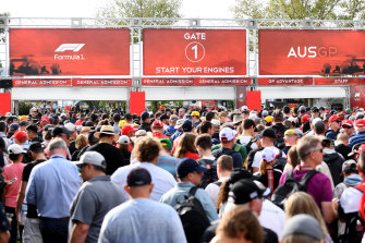 Fans line up at Albert Park, but the gates did not open as scheduled.