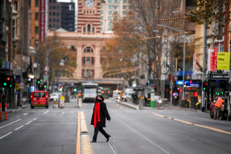 An almost-deserted Melbourne on the first day of winter.