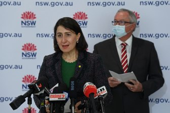 NSW Premier Gladys Berejiklian and NSW Health Minister Brad Hazzard during the COVID-19 vaccination update.
