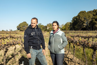 Emilie Faucheron and her husband stand in their vineyard in Montady, France. More than 80 per cent of their crops were destroyed in the April cold snap.