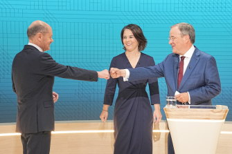 Olaf Scholz of the Social Democrats (SPD), Annalena Baerbock of the Greens Party and Armin Laschet of the Christian Democractic Union (CDU) meet for a television debate.