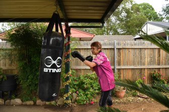 Eyvonne Bell, 64, has taken up boxing in her backyard to stay fit during self-isolation.