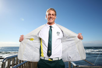 Australian athlete George Ford poses with his blazer during the launch of the Australian 2020 Tokyo Olympic Games Opening Ceremony.