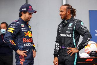 Sergio Perez (left) will start behind Lewis Hamilton at Imola.