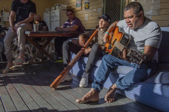 Bobby McLeod jnr, 42, is trying to kick ice and stay out of jail. He is pictured at Oolong House, an Indigenous-run rehabilitation facility that gives Aboriginal residents, nearly all of whom had ice addictions, pride in their culture and restores their self-esteem.