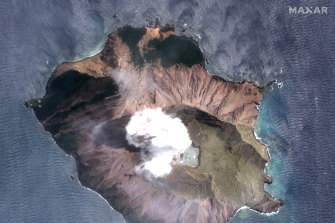 A satellite image of the volcano two days after the eruption.
