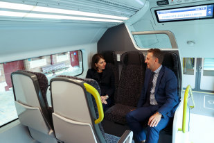 NSW Premier Gladys Berejiklian and Transport Minister Andrew Constance take their first ride on the state's new Intercity Fleet.