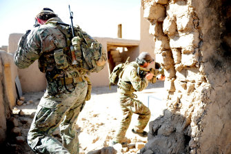Special forces soldiers doing drills at the base in Tarin Kowt.