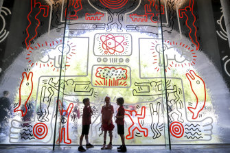 Keith Haring's shortlived 1980s waterwall mural at the NGV was recreated for the Haring/Basquiat summer exhibition.