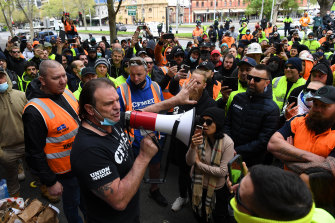 CFMEU secretary John Setka outside the union's Melbourne headquarters on Monday last week, before the protest turned violent.