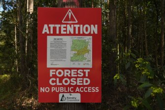 A sign stating the forest is closed and there is no public access in the Lower Bucca State Forest, near Coffs Harbour, NSW.