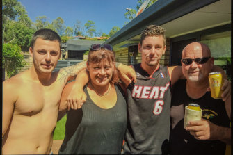 Jack (second from right) with Mitch, mother Belinda and father Brett.