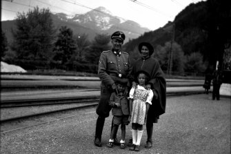 Horst von Wachter with his father Otto, mother Charlotte and sister Traute at Zell am See railway station in 1944.