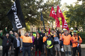 The CFMEU NSW secretary Darren Greenfield announces the green ban on historic Willow Grove and St. George's terrace in Parramatta.