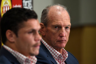 Together again: James Roberts with Wayne Bennett at the Broncos in 2017.