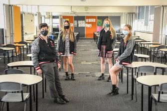 Masked-up students at Glen Eira College in September.