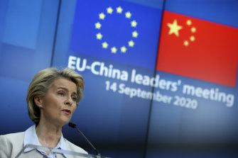 European Commission President Ursula von der Leyen following an EU-China virtual summit at the European Council in Brussels in September.