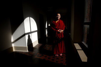 Venerable Bagdro at the Newcastle monastery on Monday.