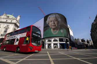 Quotes from the Queen's address to the nation have been displayed at Piccadilly Circus.