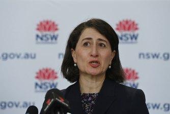 NSW Premier Gladys Berejiklian at Wednesday's COVID-19 update.