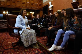 NSW Education Minister Sarah Mitchell listens to members of the Minister's Student Council inside the Legislative Council on Wednesday.