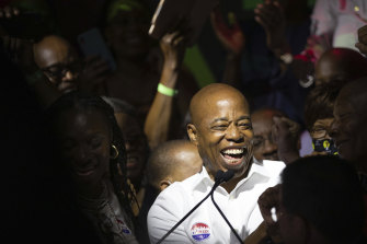 Eric Adams, a favourite of the finance industry, holds a comfortable lead after the first round of counting in the city's mayoral primary.