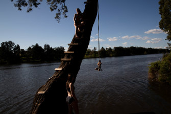 Matt Vincent, Klara Egan (in tree) and Adele Brett use the rope swing on the Nepean River at Tench Reserve, Jamisontown, on Wednesday.