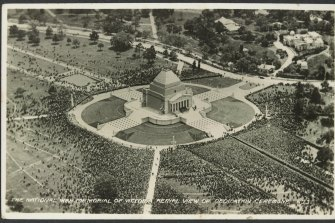Aerial view of the dedication ceremony in 1934.