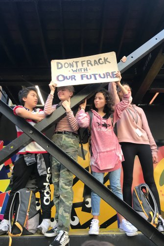 """Melbourne schoolchildren Dominic Carpenter, 13, Freya Plant, 14, Olivia Dacal, 14 and Yemi Maitri, 13, joined their peers around the  world in February for a day's """"strike"""" against inaction on climate change."""