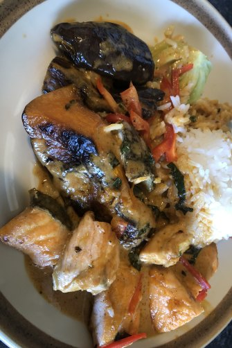 The salmon red curry from Barzura café in Coogee.