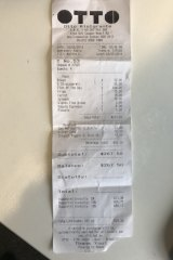 The bill for lunch at Otto