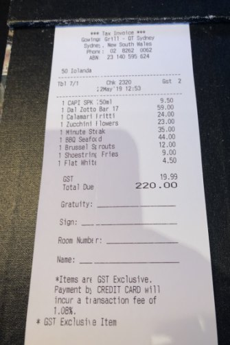 The bill please: Moodley and journalist Garry Maddox dined at Gowings Grill at the QT in Sydney.