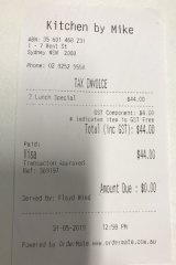 Lunch for two is $44.