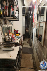 """The """"cave"""" in the basement of the Bowman Street apartment building, where building manager Jaden Hati allegedly lived and stored stolen property."""