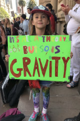 Mimi Vale, 10, spent hours making her placard for the rally.