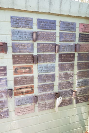 Part of the Children's Court wall at Norwood Park Crematorium.