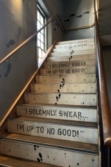 The staircase to the Vertic Alley rooftop.