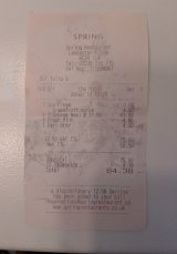 The receipt for lunch with George Brandis at Spring restaurant in London.
