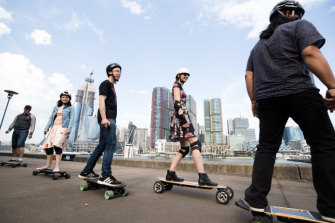 Electric skateboard riders in Pyrmont.