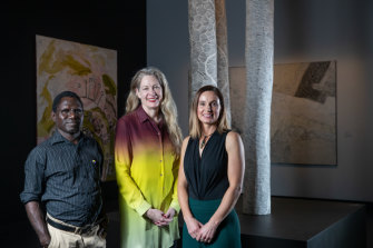 NATSIAA judges, left to right, Tiwi artist and cultural leader Pedro Wonaeamirri, Art Gallery of South Australia director Rhana Devenport and Tasmanian Museum and Art Gallery senior curator of Indigenous cultures Zoe Rimmer.