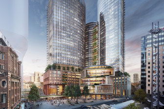 The $2.5 billion redevelopment by Frasers Property and Dexus is planned to be built next door to Atlassian's proposed headquarters near Central Station in Sydney's CBD.
