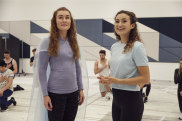 Jemma Rix (left) and Courtney Monsma in rehearsals for Frozen the Musical.