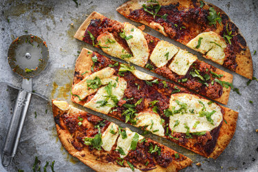 Katrina Meynink's easy 'nduja and haloumi pizza.