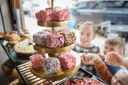 Lamingtons in the window of Phillippa's Bakery in High st Armadale.