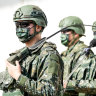 Members of Taiwan's armed forces during a military exercise in Hukou, Hsinchu County, Taiwan, last week.