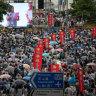 Demonstrators gather at Tamar Park during the pro-government Safeguard Hong Kong Rally in Hong Kong.