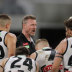 Nathan Buckley addresses the Pies during their loss to Fremantle.