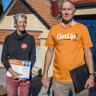 GetUp volunteers Michael Wiles and Rose Saltman in Tony Abbott's seat during election week.